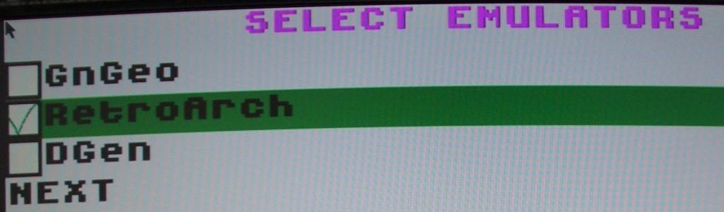 Nur RetroArch auswählen.