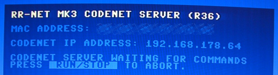 CODENET-Server wartet auf Daten.