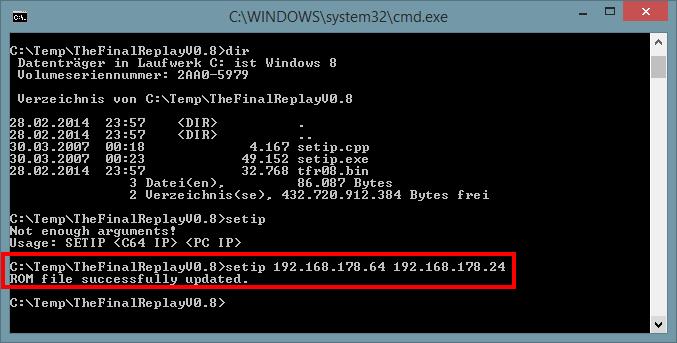 Mit SETIP das ROM patchen.