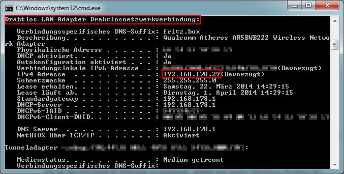 Die für NETDRIVE benötigte IP.