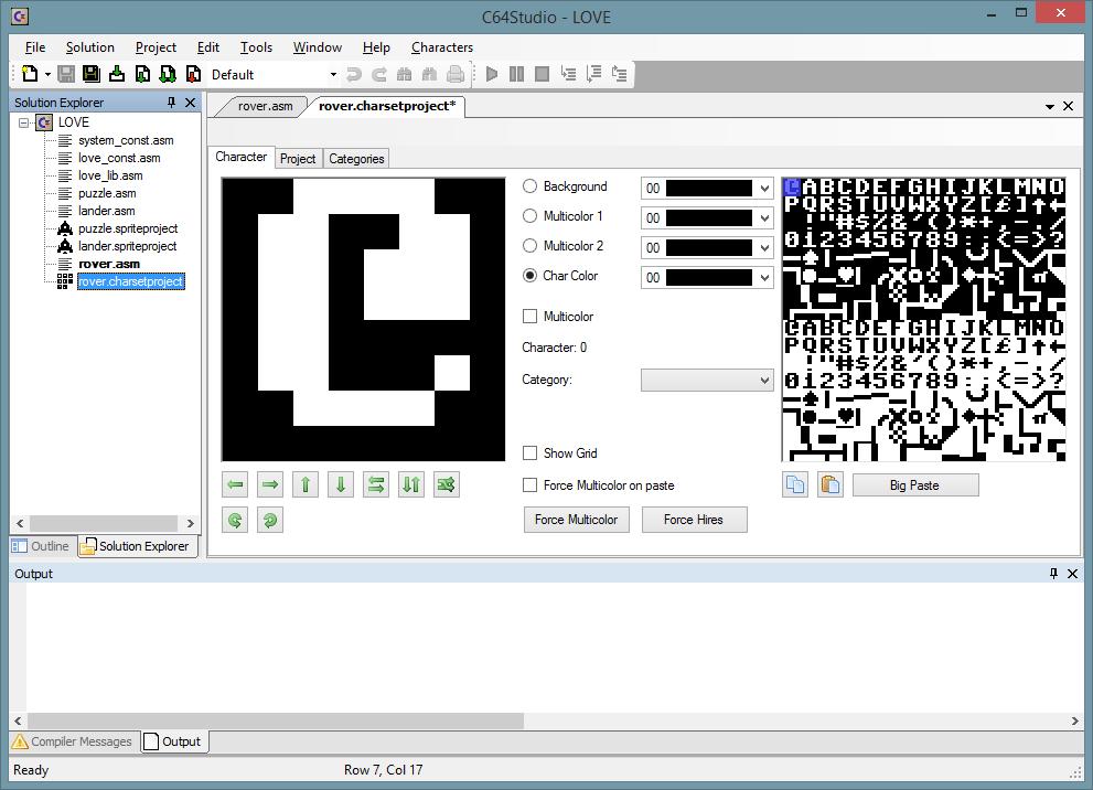 Der Standard-Zeichensatz des C64.