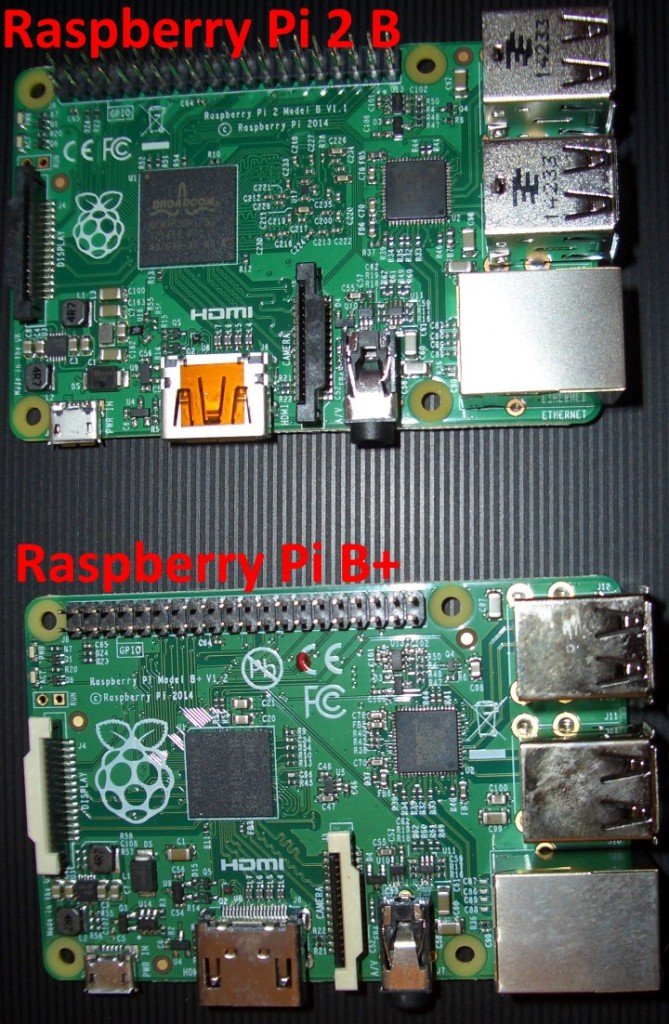 Der neue Pi2B (oben) und das bekannte Model B+ (unten)