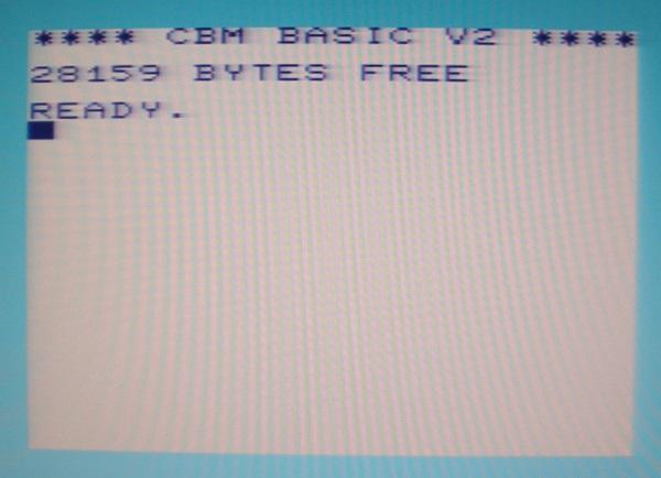 VC 20 Einschaltmeldung (hier mit aktivierter Speichererweiterung)