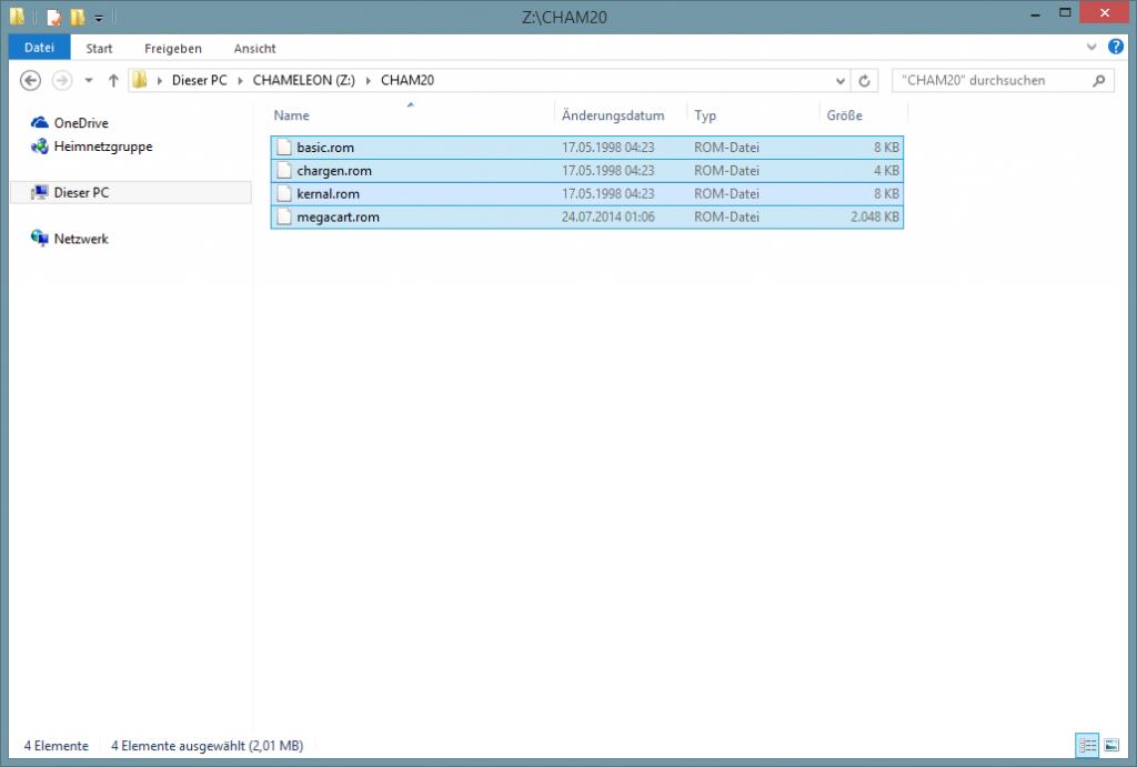 Die benötigten Dateien im CHAM20-Verzeichnis