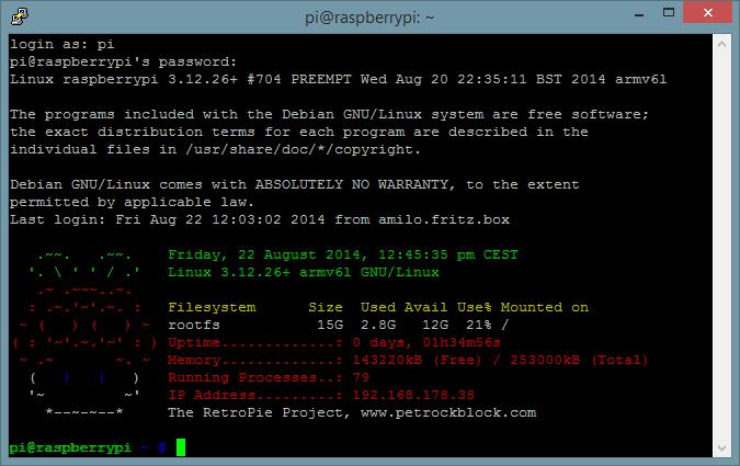 Als 'pi' mit dem Passwort 'raspberry' einloggen.