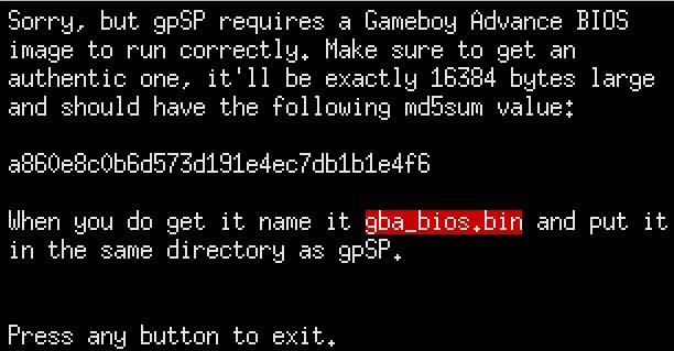 Der Gameboy Advance möchte ein BIOS.