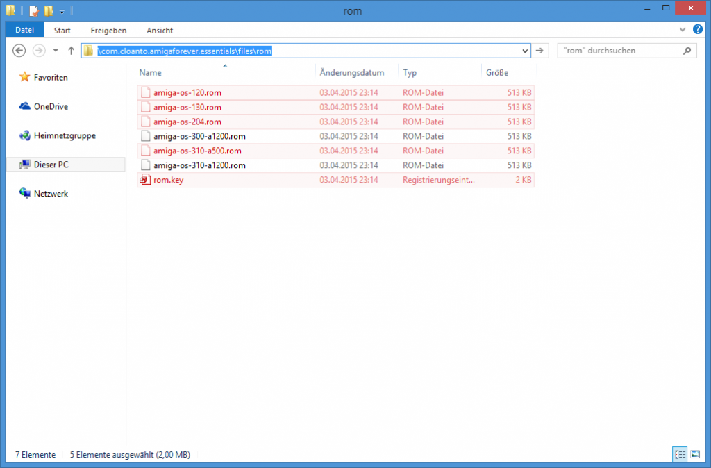 Die rot markierten Dateien werden benötigt.