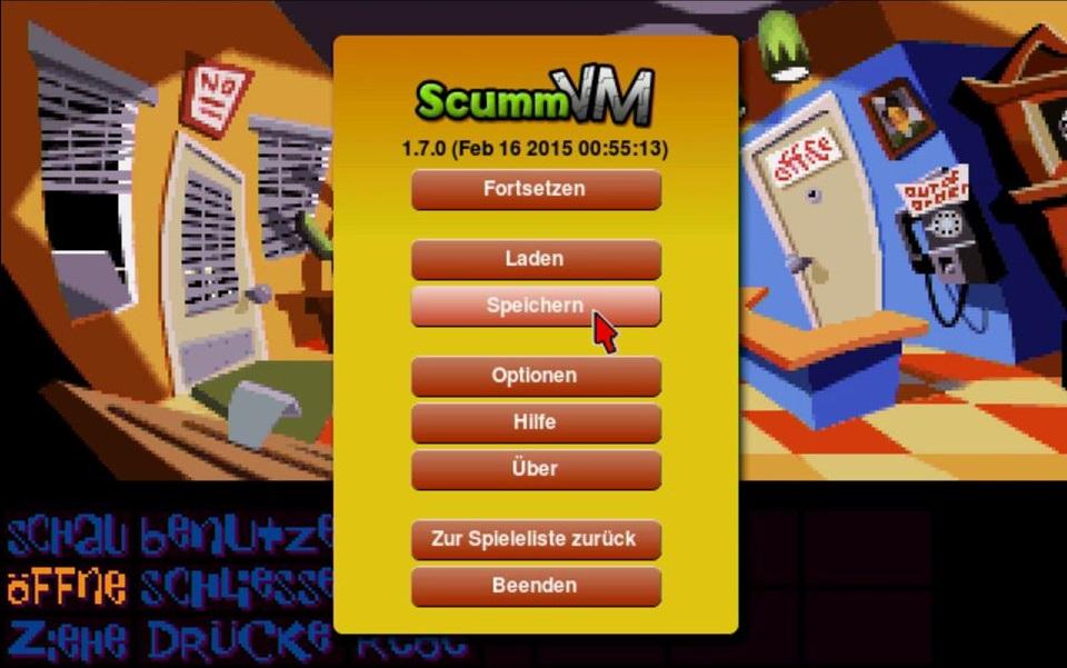 Das ScummVM-Menü im Spiel.