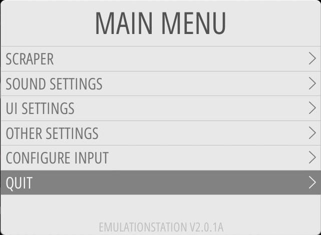 EmulationStation über das Menü verlassen: QUIT …