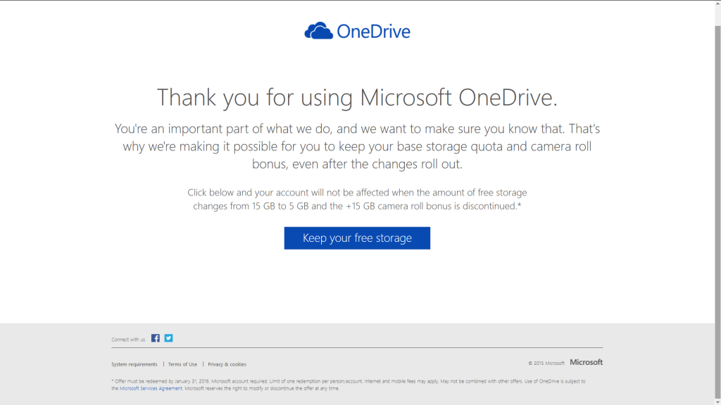 Euren bisherigen kostenlosen OneDrive-Speicher behalten.