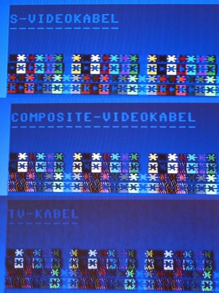 Ein Vergleich zwischen S-Video, Composite und TV-Kabel.