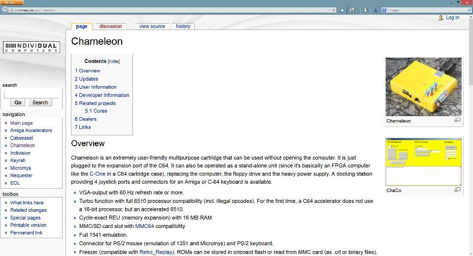 Die neue Wki-Seite zum Turbo Chameleon 64.