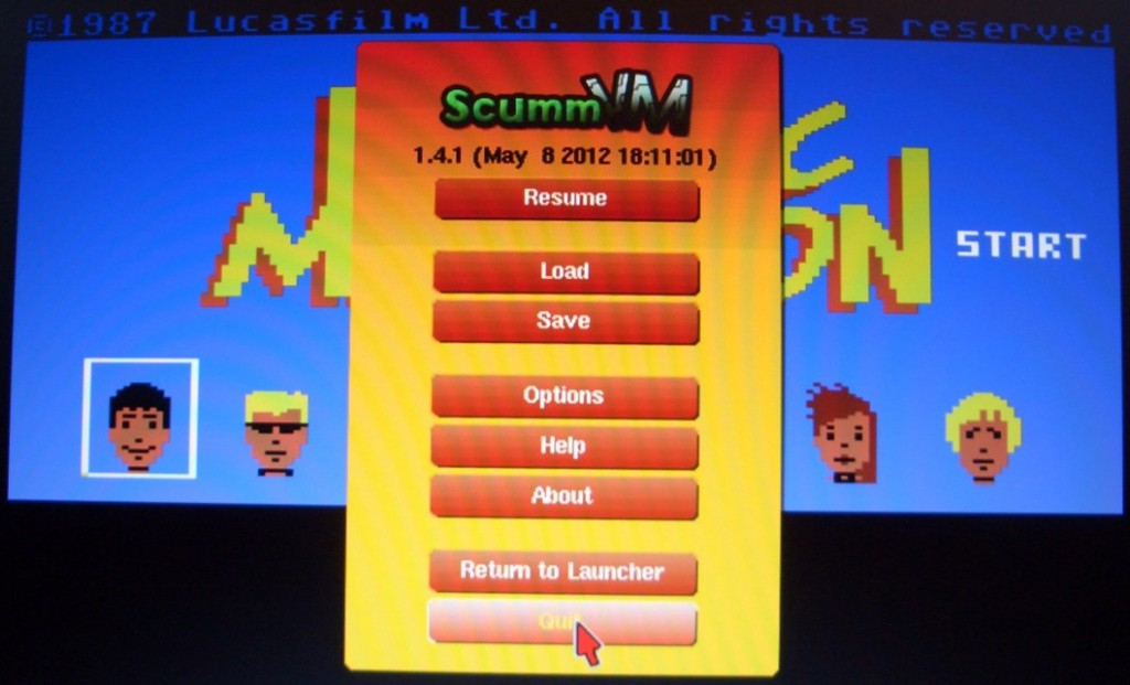 Die C64-Version von Maniac Mansion. (F5 ruft das Optionsmenü auf)