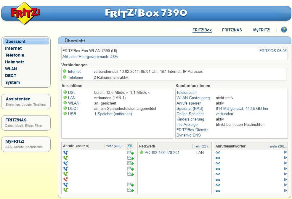 Die Web-Oberfläche der Fritz!Box