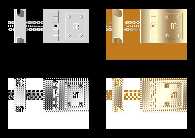 oben: Uridium-Zeichensatz unten: ROM-Zeichensatz links: Multi-Color rechts: normaler Textmodus