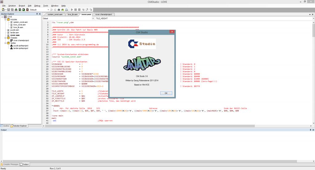 C64 Studio 3.6 (nun wird das Layout gespeichert)