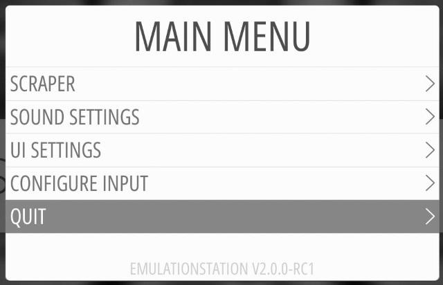 EmulationStation 2 übers Menü verlassen...