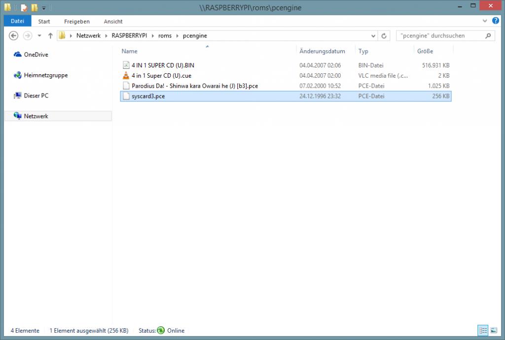 Die Datei 'syscard3.bin' muss zu den Spielen.