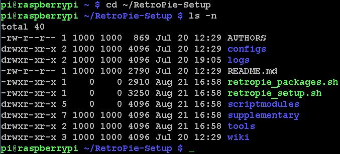 Beachtet, dass zwei Dateien mit 'retropie_' beginnen!