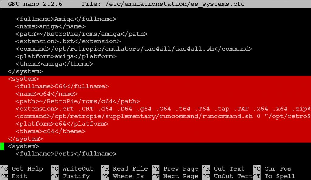 Der 'C64'-Eintrag in der es_systems.cfg