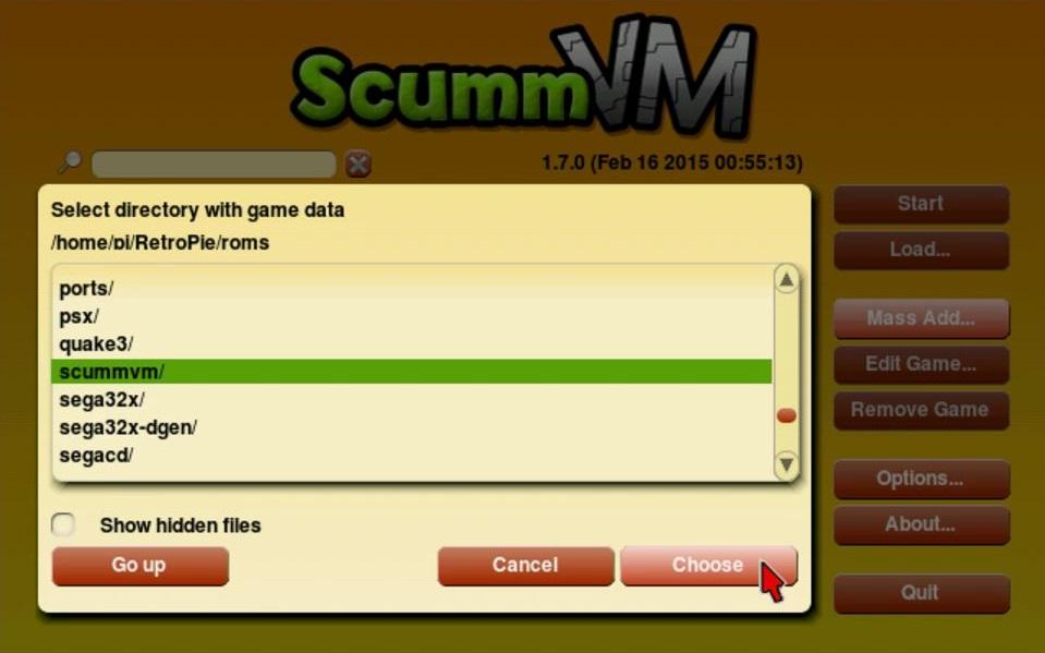Sucht das 'scummvm'-Verzeichnis