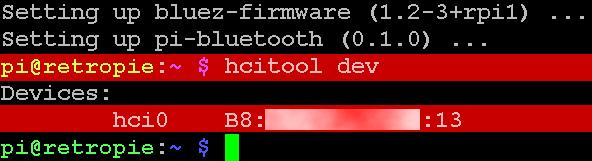 Jetzt wird der Bluetooth-Adapter vom Pi 3 gefunden.
