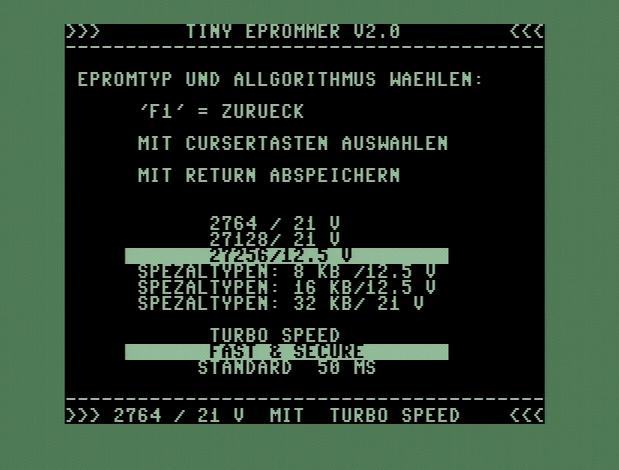 EPROM-Typ: 27256 / 12.5V Algorithmus: Fast & Secure