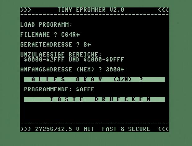 Gebt den Dateinamen 'C64R' ein und bestätigt die folgenden Abfragen einfach.