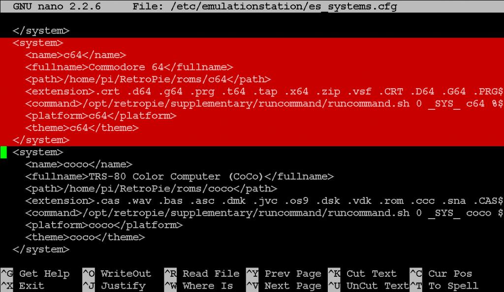 Der C64-Eintrag in der es_systems.cfg