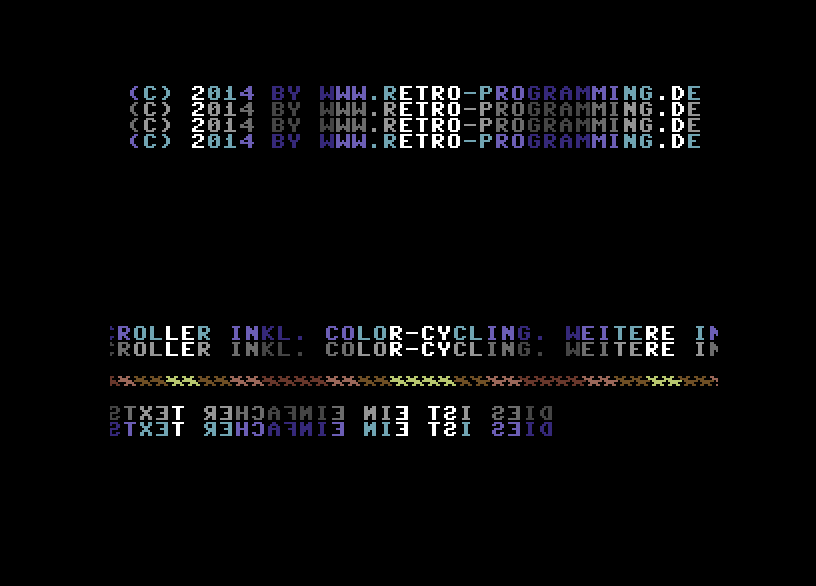 Scrolling + Raster-IRQ + Color-Cycling