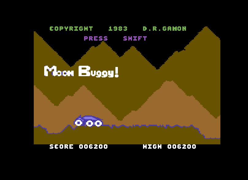 Startbildschirm von Moon Buggy