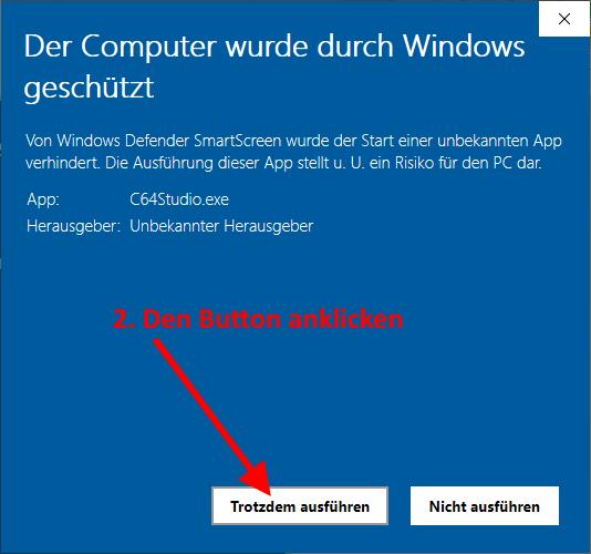 C64 Studio: Windows SmartScreen - Trotzdem ausführen